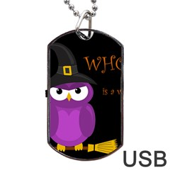 Who Is A Witch?   Purple Dog Tag Usb Flash (two Sides)  by Valentinaart