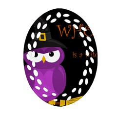 Who Is A Witch?   Purple Oval Filigree Ornament (2 Side)  by Valentinaart