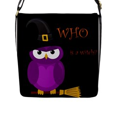 Who Is A Witch? - Purple Flap Messenger Bag (l)  by Valentinaart