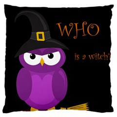 Who Is A Witch? - Purple Large Flano Cushion Case (one Side) by Valentinaart