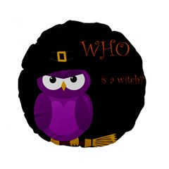 Who Is A Witch?   Purple Standard 15  Premium Flano Round Cushions by Valentinaart
