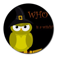 Who Is A Witch?   Yellow Round Mousepads by Valentinaart