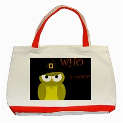 Who Is A Witch?   Yellow Classic Tote Bag (red) by Valentinaart