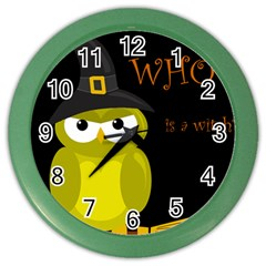 Who Is A Witch?   Yellow Color Wall Clocks by Valentinaart