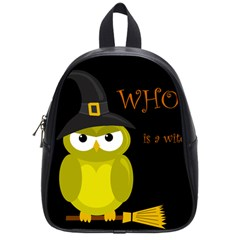 Who Is A Witch?   Yellow School Bags (small)  by Valentinaart