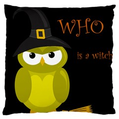 Who Is A Witch?   Yellow Large Cushion Case (two Sides) by Valentinaart