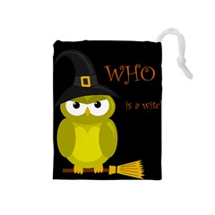 Who Is A Witch?   Yellow Drawstring Pouches (medium)  by Valentinaart