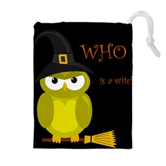 Who Is A Witch?   Yellow Drawstring Pouches (extra Large) by Valentinaart