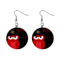 Who Is A Witch?   Red Mini Button Earrings by Valentinaart