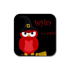 Who Is A Witch?   Red Rubber Coaster (square)  by Valentinaart