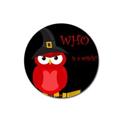 Who Is A Witch?   Red Magnet 3  (round) by Valentinaart