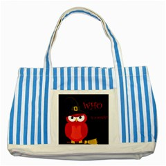 Who Is A Witch?   Red Striped Blue Tote Bag by Valentinaart