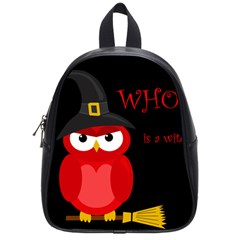 Who Is A Witch?   Red School Bags (small)  by Valentinaart