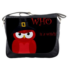 Who Is A Witch?   Red Messenger Bags by Valentinaart