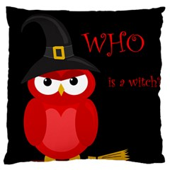 Who Is A Witch?   Red Large Flano Cushion Case (one Side) by Valentinaart