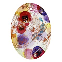 Watercolor Spring Flowers Background Oval Ornament (two Sides) by TastefulDesigns