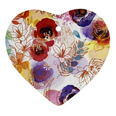 Watercolor Spring Flowers Background Heart Ornament (2 Sides) by TastefulDesigns