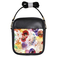 Watercolor Spring Flowers Background Girls Sling Bags by TastefulDesigns