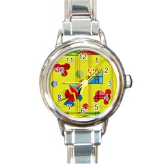 Playful Day   Yellow  Round Italian Charm Watch by Valentinaart