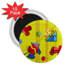 Playful Day   Yellow  2 25  Magnets (10 Pack)  by Valentinaart