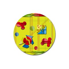 Playful Day   Yellow  Magnet 3  (round) by Valentinaart