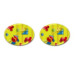 Playful Day   Yellow  Cufflinks (oval) by Valentinaart