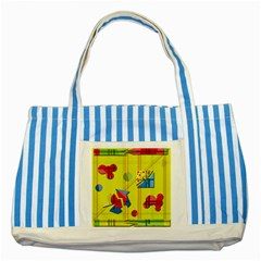 Playful Day   Yellow  Striped Blue Tote Bag