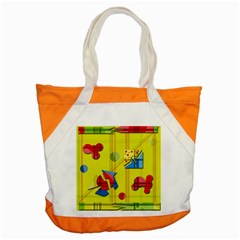 Playful Day   Yellow  Accent Tote Bag by Valentinaart