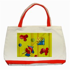 Playful Day   Yellow  Classic Tote Bag (red) by Valentinaart