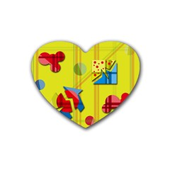 Playful Day   Yellow  Heart Coaster (4 Pack)  by Valentinaart