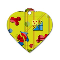 Playful Day   Yellow  Dog Tag Heart (one Side) by Valentinaart