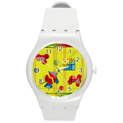 Playful Day   Yellow  Round Plastic Sport Watch (m) by Valentinaart