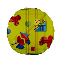 Playful Day   Yellow  Standard 15  Premium Round Cushions by Valentinaart