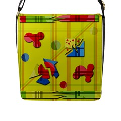 Playful Day   Yellow  Flap Messenger Bag (l)  by Valentinaart
