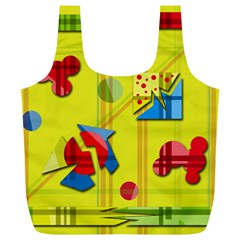 Playful Day   Yellow  Full Print Recycle Bags (l)