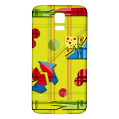 Playful Day   Yellow  Samsung Galaxy S5 Back Case (white)