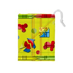 Playful Day   Yellow  Drawstring Pouches (medium)