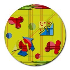 Playful Day   Yellow  Round Mousepads by Valentinaart
