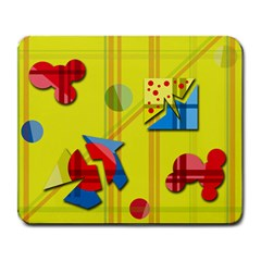 Playful Day   Yellow  Large Mousepads by Valentinaart