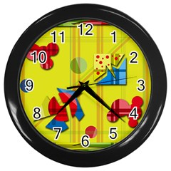 Playful Day   Yellow  Wall Clocks (black) by Valentinaart