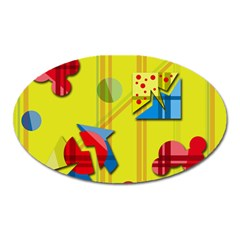 Playful Day   Yellow  Oval Magnet