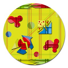 Playful Day   Yellow  Magnet 5  (round) by Valentinaart
