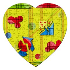 Playful Day   Yellow  Jigsaw Puzzle (heart) by Valentinaart