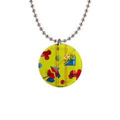 Playful Day   Yellow  Button Necklaces by Valentinaart