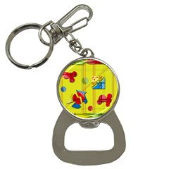 Playful Day   Yellow  Bottle Opener Key Chains by Valentinaart
