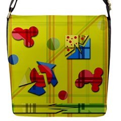 Playful Day   Yellow  Flap Messenger Bag (s) by Valentinaart