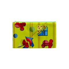 Playful Day   Yellow  Cosmetic Bag (xs) by Valentinaart