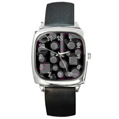Come Down   Magenta Square Metal Watch by Valentinaart