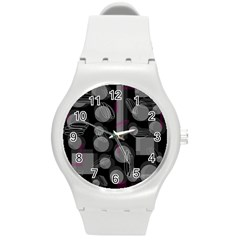 Come Down   Magenta Round Plastic Sport Watch (m) by Valentinaart
