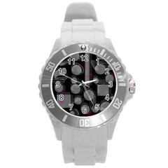 Come Down   Magenta Round Plastic Sport Watch (l) by Valentinaart